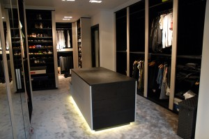 Acanthus Walk In Dressing Room Featuring a Quality Black Finish With Faux Skins, Mirror's & LED Lights