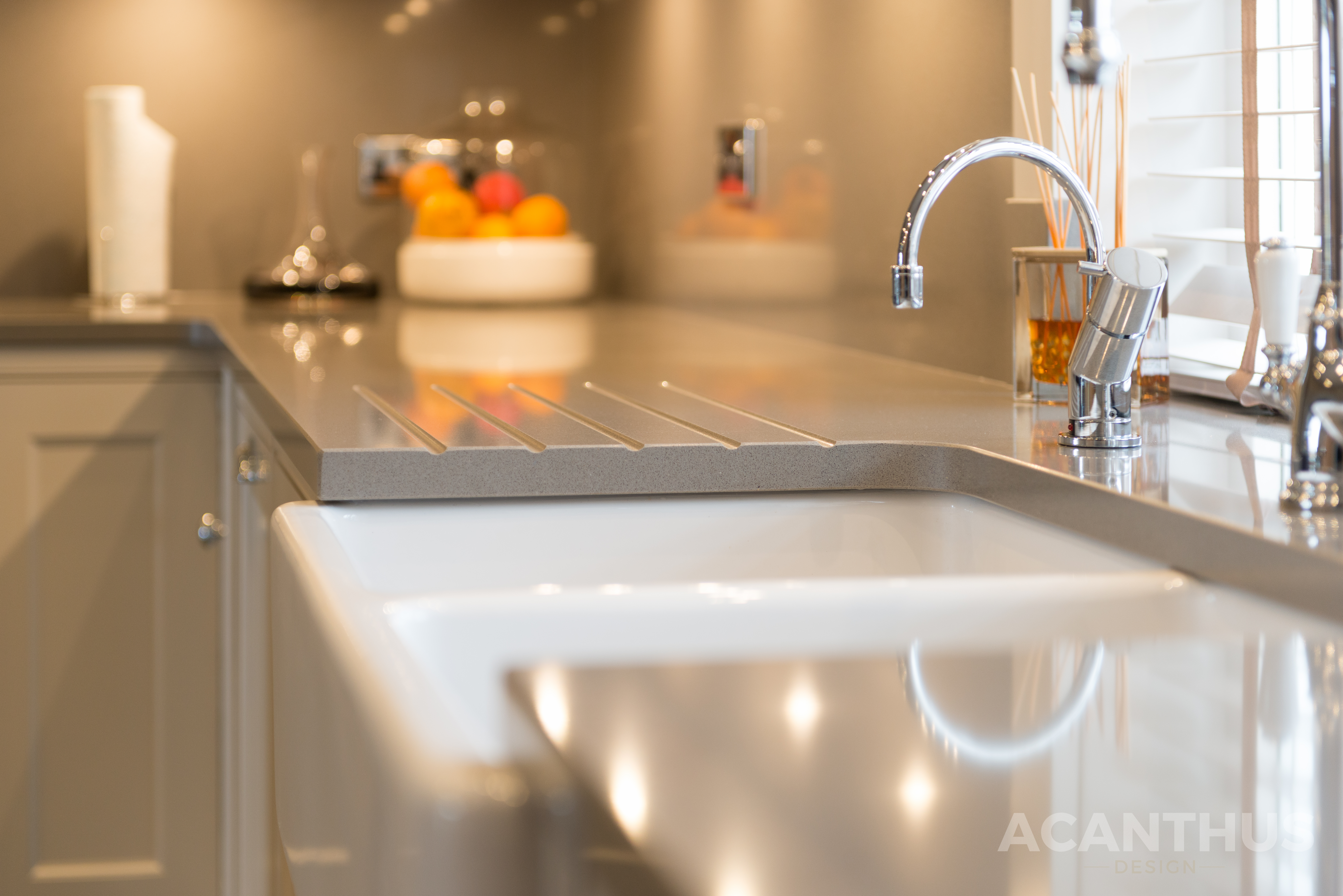 Acanthus Design English Classic Kitchen Featuring Silestone Gris Expo Kitchen Worktops & Quooker Tap