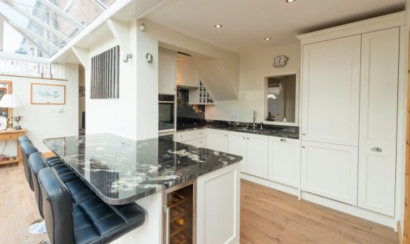 Acanthus Design Bespoke English Classic Traditional Kitchen Featuring Perrin & Rowe Oberon Tap, Siemens & Neff Appliances, Franke Kubus 1.5 Sink Painted In Farrow & Ball Slipper Satin & Cosmic Black Stone Finished with Chrome Cup & Knob Handles