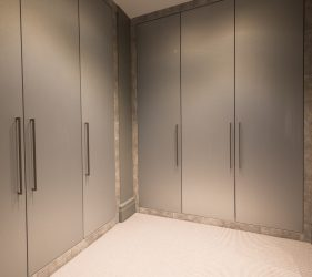 Lunar Conrcete & Brushed Steel Effect Walk in Wardrobe & Virtual 360° Bedroom Tour