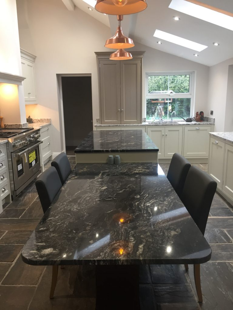 Acanthus English Classic Bespoke Kitchen Featuring 3 Copper Pendant Lights